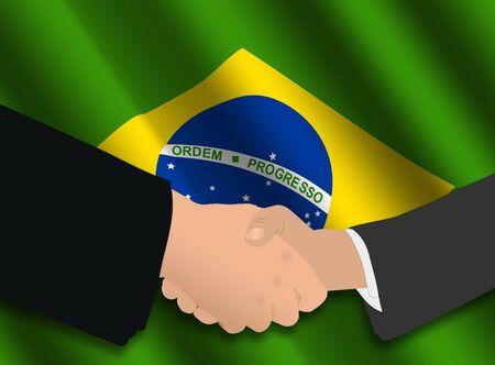 business handshake over Brazilian flag illustration illustration