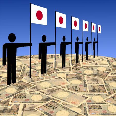 line of men holding Japanese flags on yen illustration illustration