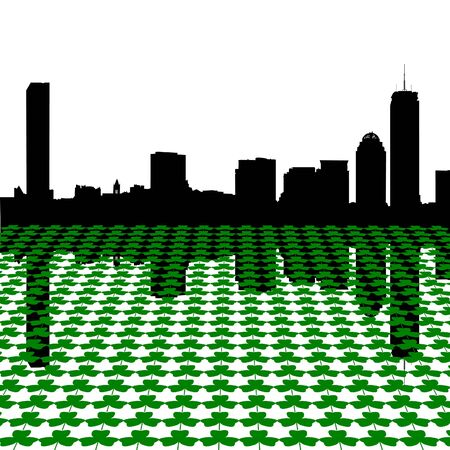 Boston skyline Happy St Patricks day with shamrocks illustration illustration