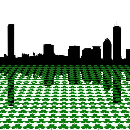Boston skyline Happy St Patricks day with shamrocks illustration