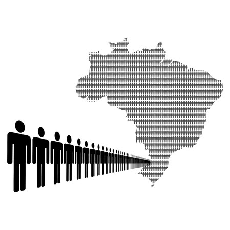 Map of Brazil made of people with line of men  photo