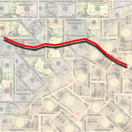 exchange rate: dollar yen exchange rate graph 2008 on currency illustration Stock Photo