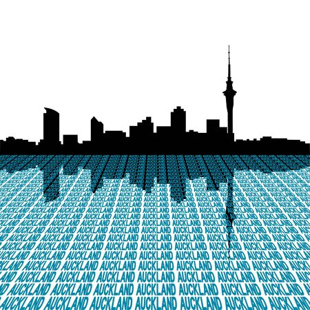 Auckland skyline with city text perspective illustration illustration