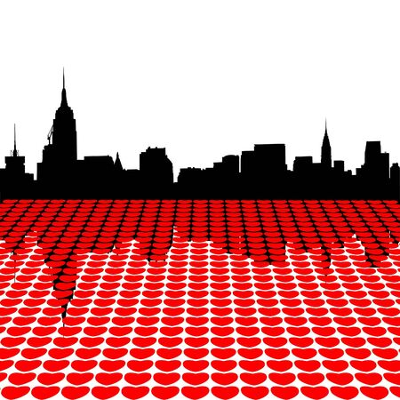 dearest: Midtown Manhattan skyline happy valentines day with hearts illustration
