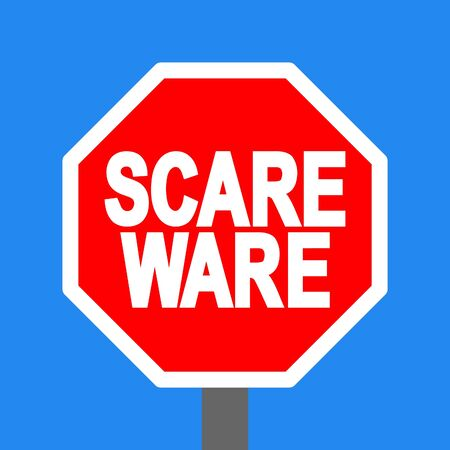 malicious software: stop scareware sign on blue sky illustration