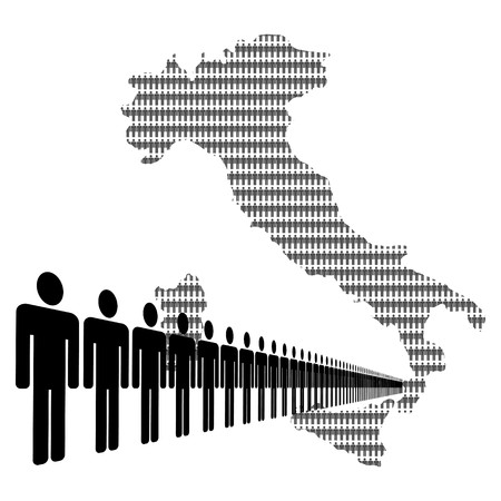 Map of Italy made of people with line of men photo