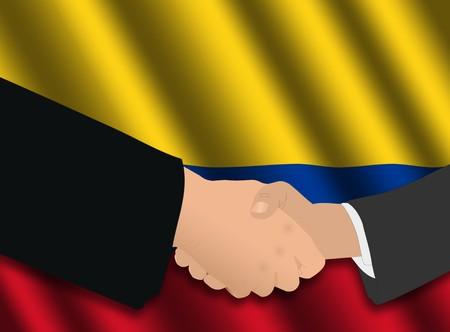 colombian: business handshake over Colombian flag illustration