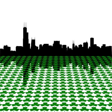 sears: chicago skyline Happy St Patricks day with shamrocks illustration
