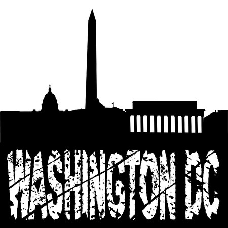 washington monument: grunge text washington DC with skyline illustration