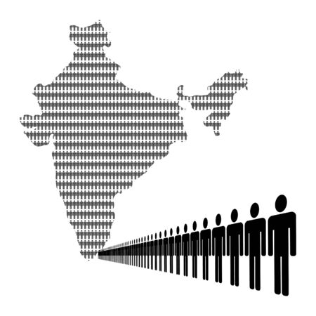 populations: Map of India made of people with line of men