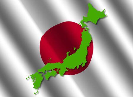 rippled: Japan map on rippled flag illustration