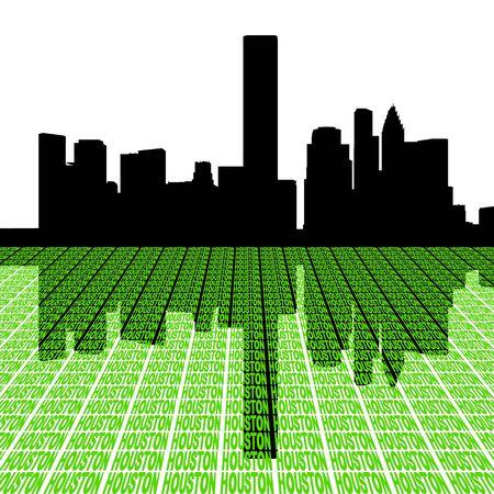 houston: Houston skyline with city text perspective illustration