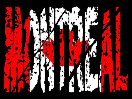 montreal: grunge Montreal text with Canadian flag illustration