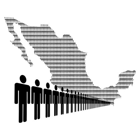 Map of Mexico made of people with line of men photo