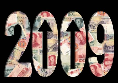 raise: Chinese Yuan 2009 text with arrows illustration