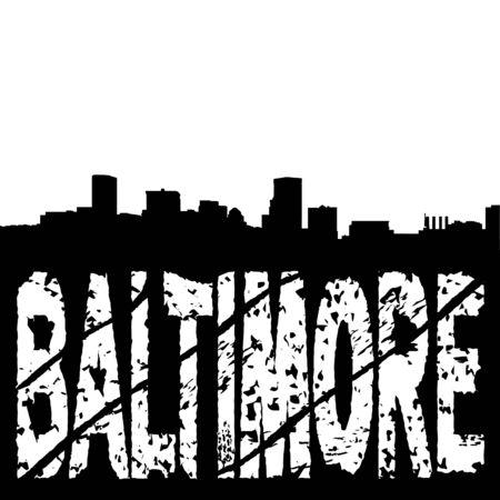 baltimore: Baltimore skyline with grunge text illustration
