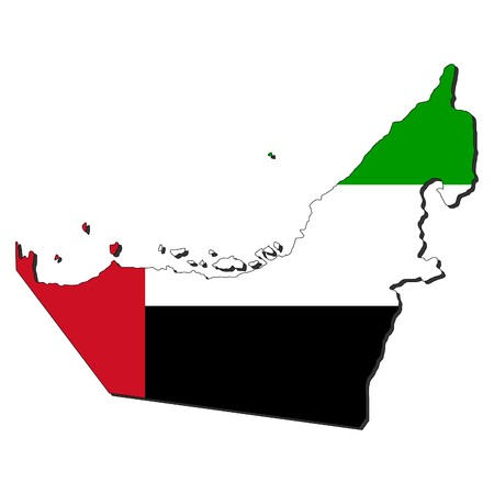 map of UAE and their flag illustration