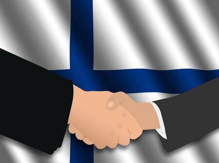 finnish: business handshake over Finnish flag illustration Stock Photo