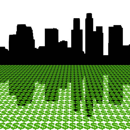 Los Angeles Skyline reflected with dollar symbols illustration illustration