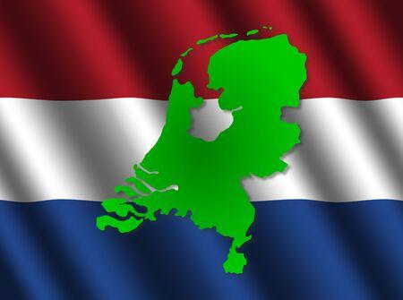 rippled: Netherlands map on rippled flag illustration