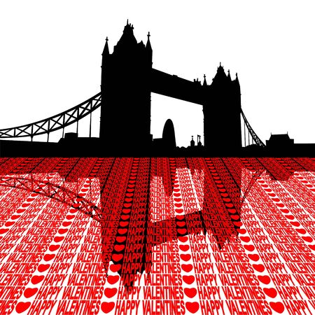gherkin: Tower Bridge London reflected with happy valentines message