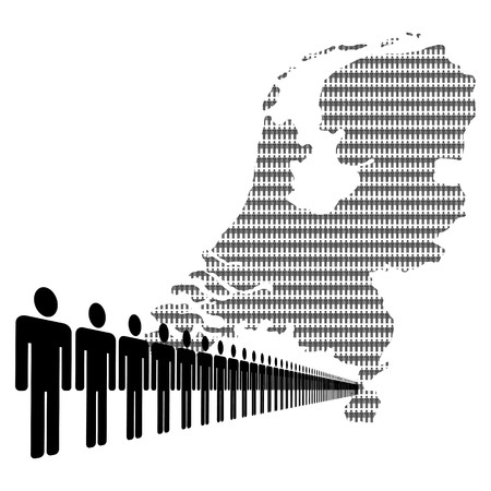 Map of Netherlands made of people with line of men photo