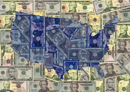 Map of USA with American dollars bills illustration