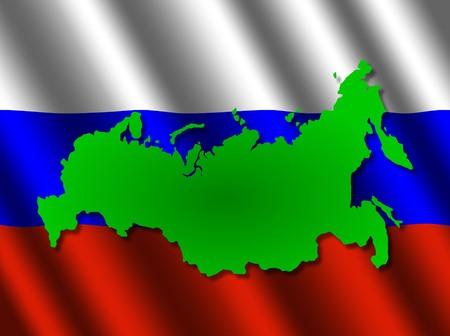 russland karte: Russland Karte auf rippled Flagge illustration