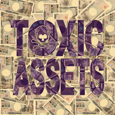 Toxic Assets text with Japanese Yen background photo