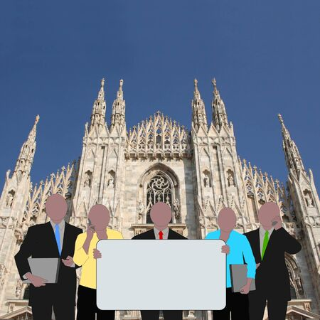 business team with sign and Duomo Milan Italy photo
