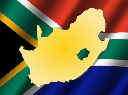 rippled: South Africa map on rippled flag illustration Stock Photo