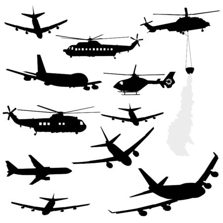 assorted helicopter and airplane silhouettes Stock Photo - 4212220