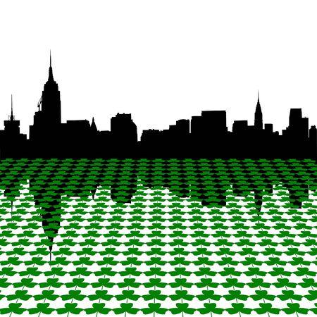 irish cities: Midtown Manhattan skyline Happy St Patricks day with shamrocks illustration Stock Photo