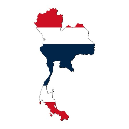 map of Thailand with Thai flag illustration