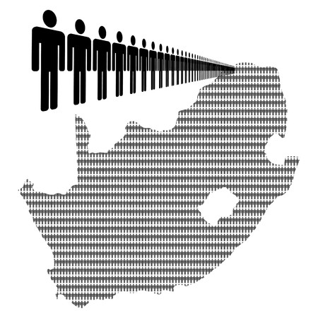 Map of South Africa made of people with line of men photo