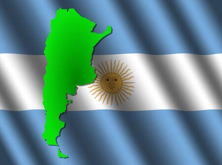 rippled: Argentina map on rippled flag illustration Stock Photo