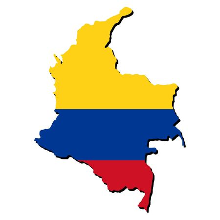 colombian: map of Colombia and Colombian flag illustration