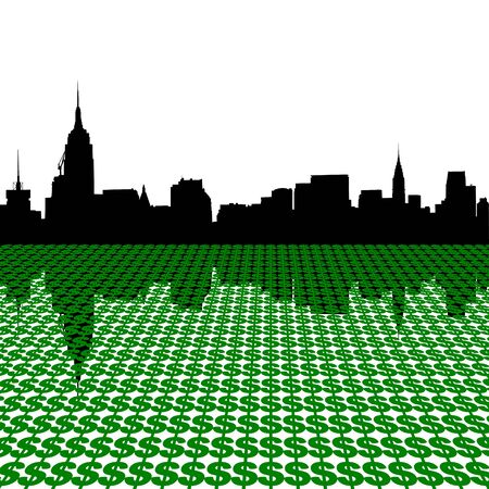 Midtown manhattan skyline with dollar symbols illustration illustration