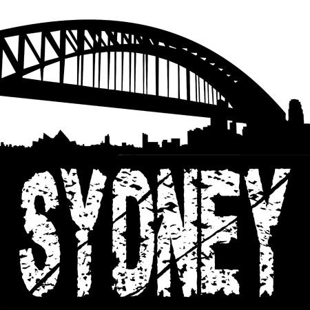 Sydney harbour bridge with grunge text illustration illustration