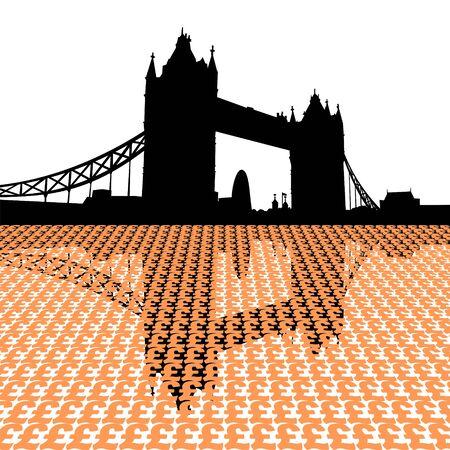 gherkin building: Tower Bridge London reflected with pound symbols illustration