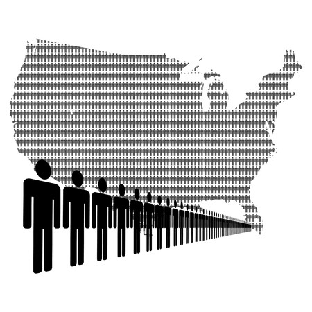 numerous: Map of USA made of people with line of men Stock Photo