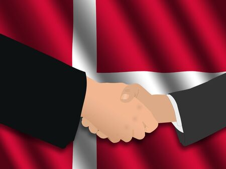 danish flag: business handshake over Danish flag illustration