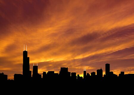Chicago skyline at sunset with beautiful sky illustration illustration