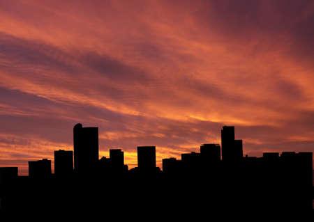 denver: Denver skyline at sunset with beautiful sky illustration