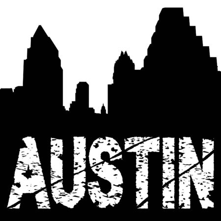 Austin grunge text with skyline illustration Stock Illustration - 4268060