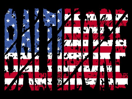 baltimore: grunge Baltimore text with American flag illustration