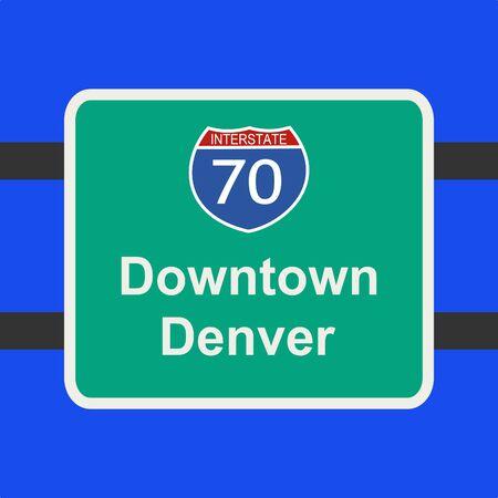 denver: freeway to downtown Denver sign illustration