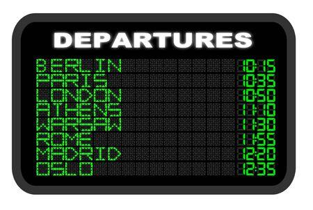 departure board: European Airport Departure board illustration Stock Photo