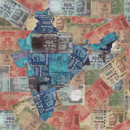 rupees: Map of India with Indian Rupees illustration