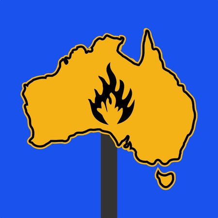 fire symbol on Australia map sign illustration illustration